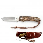 Iron Wood Handle Nickel Bolster Fixed Blade with Leather Sheath